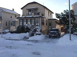 Vinny's house. He cheated, he used a snowblower !!